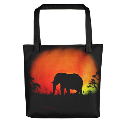 Elephant At Sunset Tote Bag