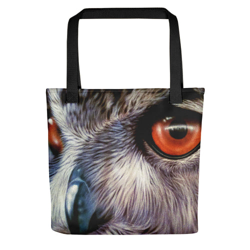 Owl Tote Bag Realistic Owl Colorful Big Eyes Design For Owl Lovers