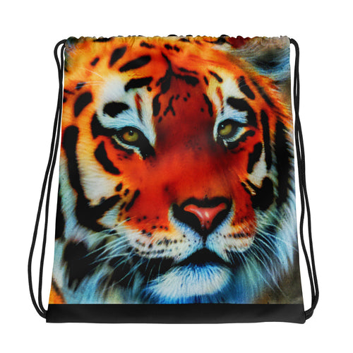 Tiger Drawstring Backpack With Black Drawstrings