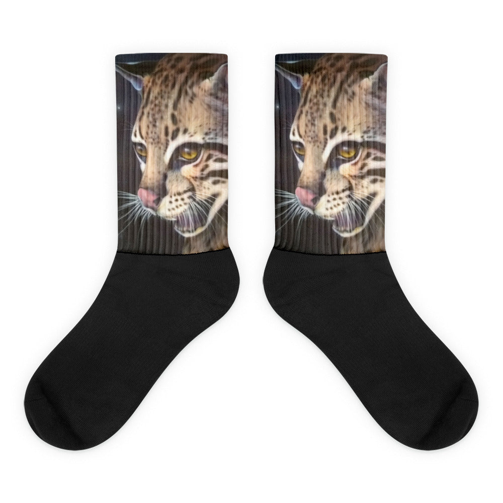 Socks Animal Socks Ocelot Black Foot Socks, Thick ribbing, Cushioned For Maximum Comfort, Unisex Socks, Cute Socks, ocelot socks, comfy socks 4endangered