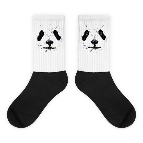 Panda Graphic Design Black Foot Socks Animal Socks