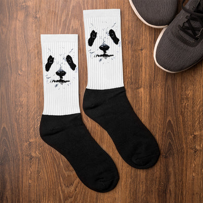 Animal Socks Panda Graphic Design Black Foot Socks