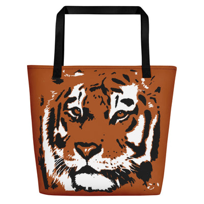 Tiger Graphic Big Orange Beach Bag