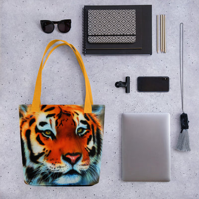 Tiger Tote Bag With Colored Handles