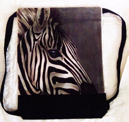 Zebra Backpack/Sport Bag Realistic Detail Airbrushed Zebra Love-Backpack-4Endangered