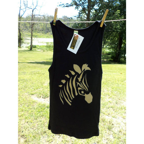 Zebra Tank Top Black With Gold Airbrushed-kids corner-4Endangered