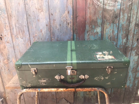 Vintage 1950s astral racing green aluminium suitcase luggage