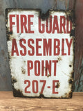 Enamel fire guard assembly point vintage sign