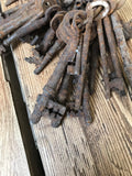Vintage collection of antique cast iron keys