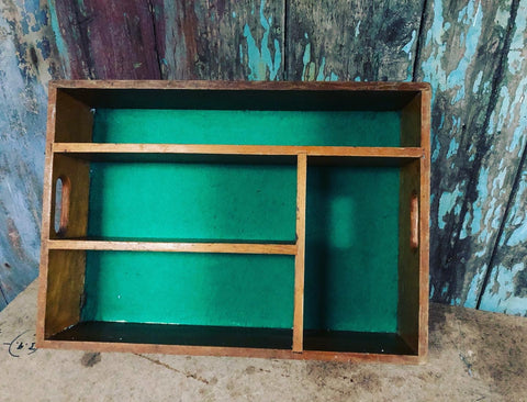 1960s MOD government wooden cutlery shoe cleaning box
