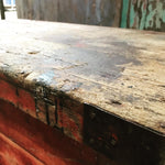 Vintage rustic wooden storage trunk box