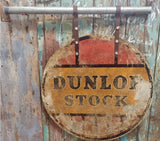 Collectable vintage 30s  metal Dunlop Stock automobilla advertising sign