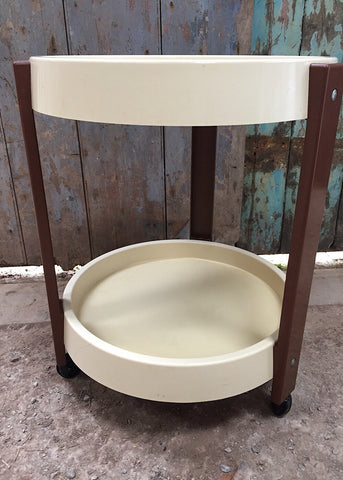 Vintage kitsch 80s brown plastic hairdressers wheeled table