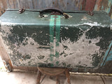 Vintage 1970s racing green aluminium suitcase luggage