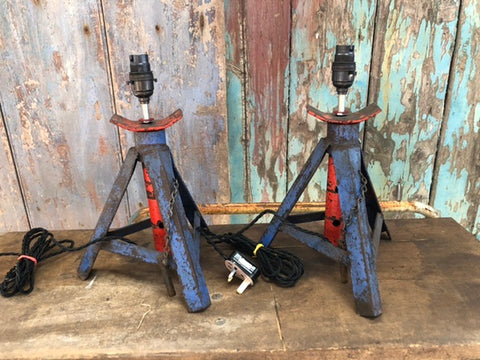Pair of Unusual vintage upcycled axle stand lights
