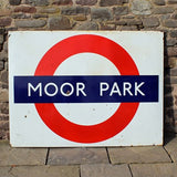 Collectable vintage metal enamel underground Moor Park railway sign