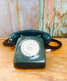 Green vintage GPO 746 1970s home telephone office