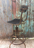 Vintage old Industrial workshop tall chair bar stool