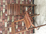 Vintage slatted garden wooden folding chairs