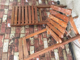 Vintage pair of pine folding old chapel dining garden chairs