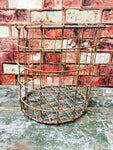 Vintage old tomato picking metal basket waste litter bin