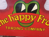 Vintage wooden hand drawn advertising sign The Happy Frog