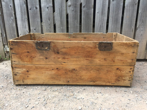 vintage pine storage chest old packing crate toy box