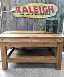 Reclaimed industrial workshop bench office desk oak top
