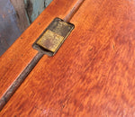 Antique double pine school desk side table