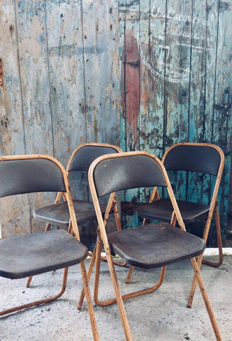 Industrial vintage fold a bye metal folding chairs