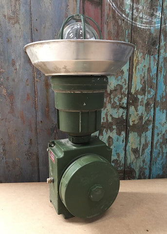 Vintage green ex military salvaged RAF industrial lights