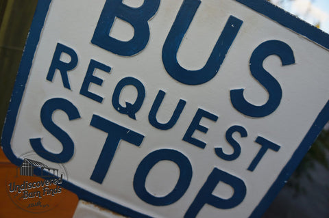 Vintage 50s bus request stop sign
