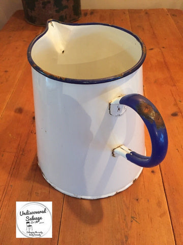 Vintage large Blue & White Large Enamel Jug Pitcher Garden Planter