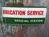 Collectable vintage metal tin Lubrication Service official station advertising sign