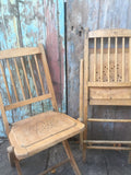 Vintage pair of pine folding old chapel dining office garden chair