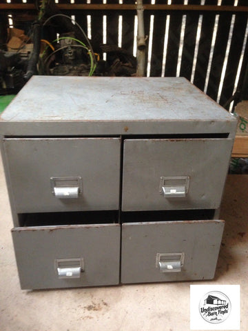 Vintage Retro Industrial Metal Four Drawer Cabinet Ex Military
