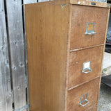 vintage Industrial wood effect 1930s Office four 4 drawer filing cabinet