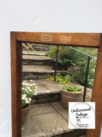 Sign written Beautiful original vintage oak shop dress mirror