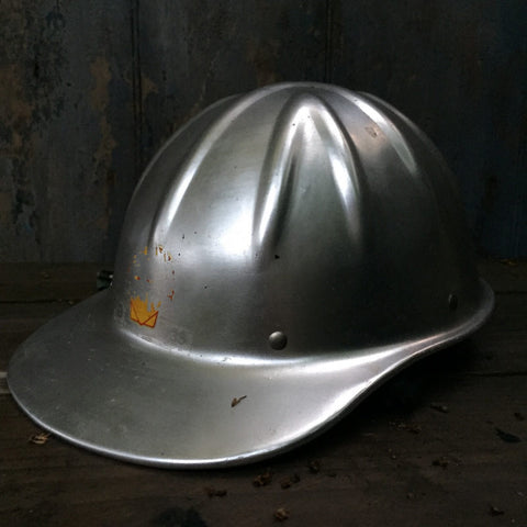 Vintage metal Shell oil worker builder construction Helmet 1970s