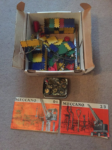 Vintage Early Meccano Construction Set 0-1 and 1-2 In Box 40s Toys