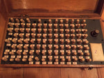 19th century oak cased peg board printing set