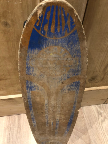 Vintage 70s 80s deluxe super flyer wooden skateboard.