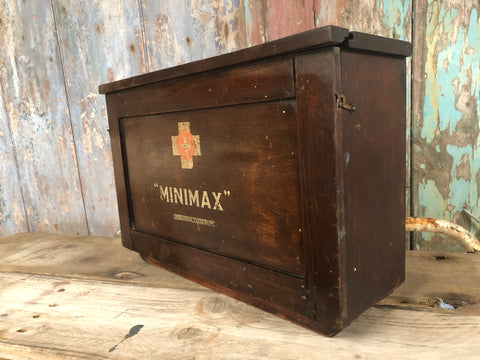 Vintage wooden Minimax first aid cabinet