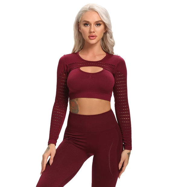 Long Sleeves Seamless Workout Tops