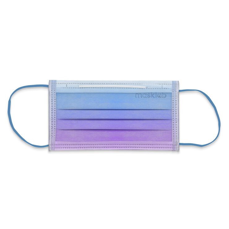 Blue Lagoon Ombré Adult 3-Ply Surgical Face Mask (Individually-wrapped 10-pack)