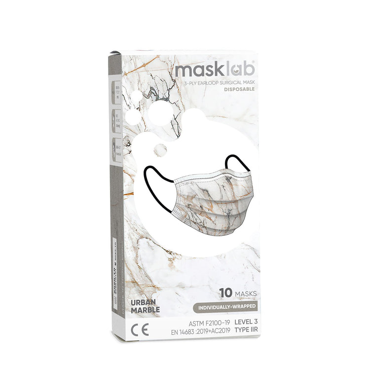Urban Marble Adult 3-Ply Surgical Face Mask (Individually-wrapped 10-pack)