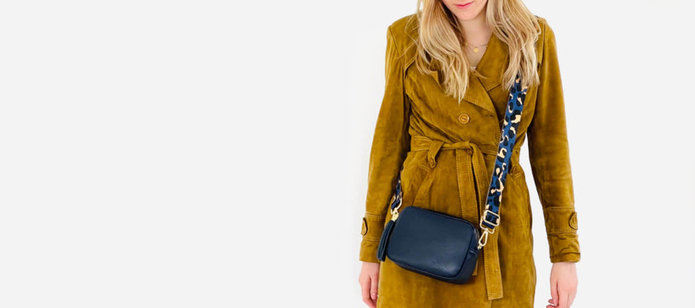 NAVY LEATHER CROSS-BODY BAG WITH NAVY LEOPARD STRAP