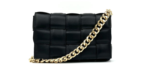 Black Padded Woven Leather Cross-Body Bag With Gold Chain Strap