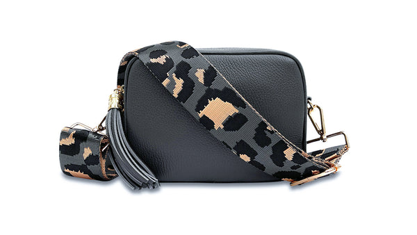 Dark Grey Leather Cross-Body Bag With Grey Leopard Strap