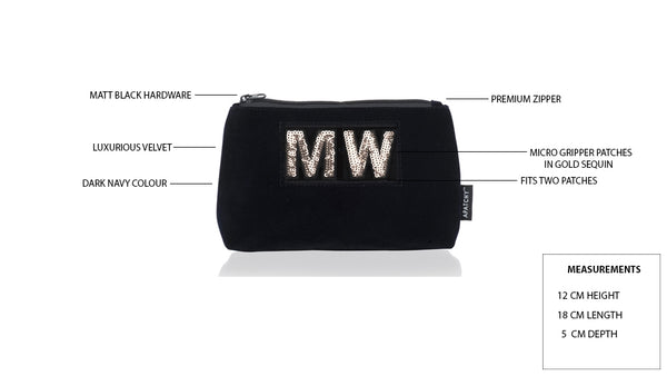 Diva Small Makeup Bag in Midnight Navy Velvet - Silver Letters